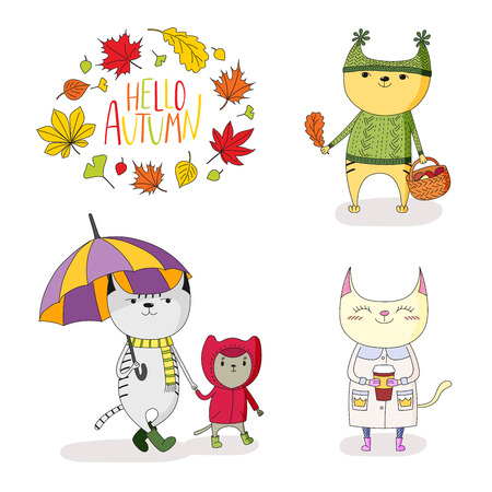 Hand drawn vector illustration of cute cats, in rain coat, with umbrella, mushrooms, paper cup, with wreath of leaves and text Hello Autumn. Isolated objects on white background. Design concept kids.