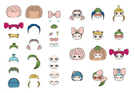 Verzameling van hand getrokken vector doodles van kawaii grappige meisjes hoofden met verschillende kapsels en trendy accessoires. Geïsoleerde objecten op witte achtergrond. Ontwerpconcept voor kinderen. Doe het zelf.