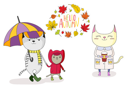 Hand drawn vector illustration of cute cats, with umbrella, in a rain coat, with paper cup, with wreath of leaves and text Hello Autumn. Isolated objects on white background. Design concept for kids.