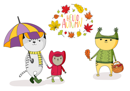 Hand drawn vector illustration of cute cats, with umbrella, basket with mushrooms,  in a raincoat, wreath of leaves and text Hello Autumn. Isolated objects on white background. Design concept for kids
