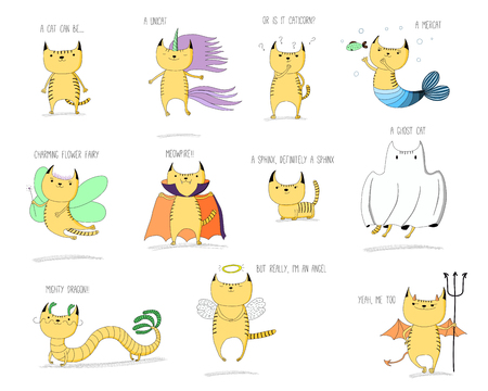Hand drawn vector doodles of cute cats mythical creatures - unicorn, mermaid, fairy, vampire, sphinx, ghost, dragon, angel and devil, with text. Isolated objects on white background. Design for kids.