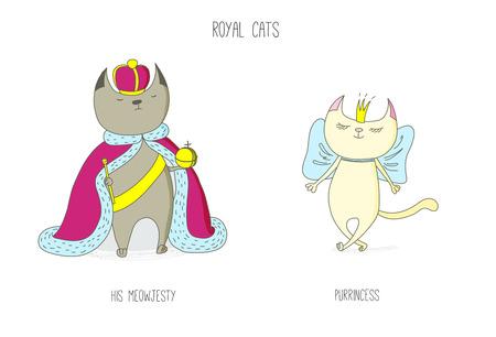 Ręcznie rysowane wektor gryzmoły słodkie śmieszne koty królewskie - król i księżniczka w koronach, z tekstem. Pojedyncze obiekty na białym tle. Koncepcja projektu dla dzieci - plakat, pocztówka, nadruk t-shirt.