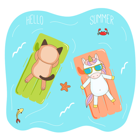 Hand drawn vector illustration of a unicorn and cat in sunglasses floating in the sea on inflatable air mattresses, with fish, starfish and crab, text Hello Summer. Isolated objects. Design concept. Illustration