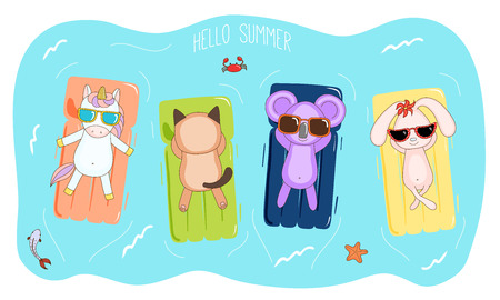 Hand drawn vector illustration of a unicorn, koala, bunny and cat in sunglasses floating in the sea on inflatable air mattresses, with fish, starfish and crab, text Hello Summer. Design concept kids.