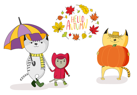 Hand drawn vector illustration of cute cats, with umbrella, in rain coat, with big pumpkin, with wreath of leaves and text Hello Autumn. Isolated objects on white background. Design concept for kids. Illustration