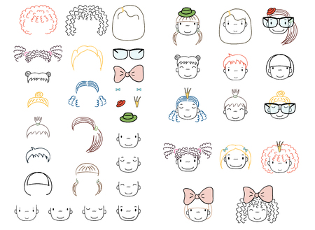 Collection of hand drawn vector doodles of cute funny girls heads with different hairstyles and trendy accessories. Isolated objects on white background. Design concept for children. Do it yourself.