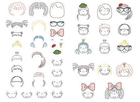 Verzameling van hand getrokken vector doodles van leuke grappige meisjes hoofden met verschillende kapsels en trendy accessoires. Geïsoleerde objecten op witte achtergrond. Ontwerpconcept voor kinderen. Doe het zelf. Stock Illustratie