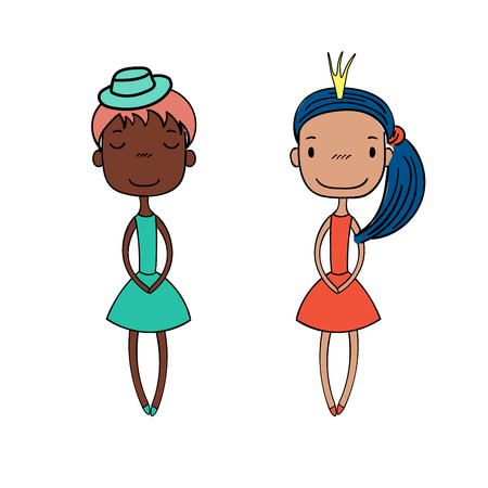 Hand drawn vector illustration of two cute little trendy girls with different hairstyles, skin colors, dressed in lovely dresses. Isolated objects on white background. Design concept for girls.