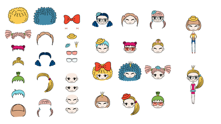 Collection of hand drawn vector doodles of kawaii funny girls heads with different hair, accessories and two bodies. Isolated objects on white background. Design concept for children. Do it yourself.