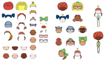 Verzameling van hand getrokken vector doodles van schattige meisjes hoofden met verschillende haar, huidskleuren, accessoires en twee lichamen. Geïsoleerde objecten op witte achtergrond. Ontwerpconcept voor kinderen. Doe het zelf Stock Illustratie