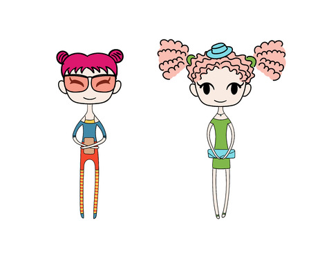 Hand drawn vector illustration of two kawaii trendy girls with different hair, in cute dress with a clutch, t-shirt, leggings, shorts. Isolated objects on white background. Design concept for kids.