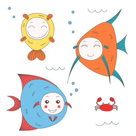 Hand drawn vector illustration of funny fish with cute faces with different expressions, swimming in the sea underwater. Isolated objects on white background. Design concept for children. Stock Vector - 88891662