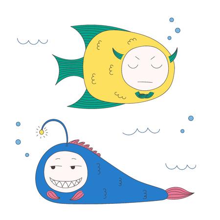 Bergeben Sie gezogene Vektorillustration von lustigen Fischen mit netten Gesichtern mit den verschiedenen Ausdrücken und im Meer unter Wasser schwimmen. Lokalisierte Gegenstände auf weißem Hintergrund. Designkonzept für Kinder. Standard-Bild - 88891663