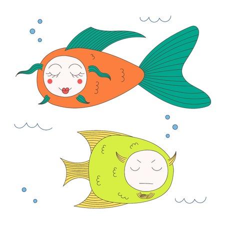 Bergeben Sie gezogene Vektorillustration von lustigen Fischen mit netten Gesichtern mit den verschiedenen Ausdrücken und im Meer unter Wasser schwimmen. Lokalisierte Gegenstände auf weißem Hintergrund. Designkonzept für Kinder. Standard-Bild - 88891664