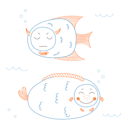 Hand drawn vector illustration of funny fish with cute faces with different expressions, swimming in the sea underwater. Unfilled outline. Isolated objects on white background. Design concept for kids