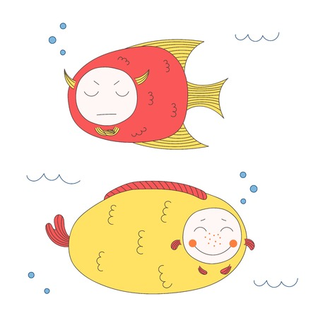 Hand drawn vector illustration of funny fish with cute faces with different expressions, swimming in the sea underwater. Isolated objects on white background. Design concept for children. Illustration