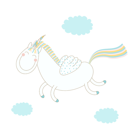 Hand drawn vector illustration of a funny happy smiling winged unicorn flying in the sky among the clouds. Isolated objects on white background. Design concept for postcard, poster, T-shirt print. Illustration
