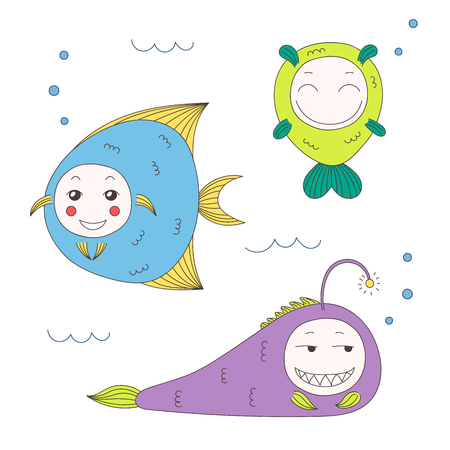 Hand drawn vector illustration of funny fish with cute faces with different expressions, swimming in the sea underwater. Isolated objects on white background. Design concept for children. Stock Vector - 88891670