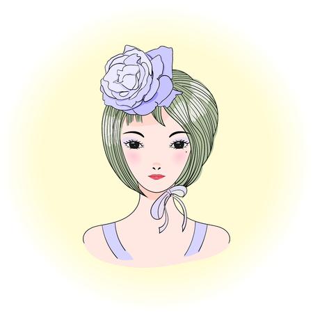 짧은 머리, 장미와 리본 젊은 아름 다운 아시아 여자의 손으로 그린 된 벡터 초상화. 애니메이션 스타일 그래픽 일러스트입니다. 패션 포스터, 엽서, T-
