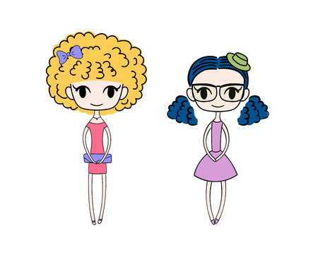 Hand drawn vector illustration of two kawaii trendy girls with different hair, in cute dresses, with bow, hat and clutch bag. Isolated objects on white background. Design concept for kids. Ilustração