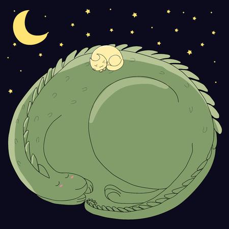 손으로 그려진 된 벡터 일러스트 레이 션의 귀여운 자 웅크 리고 드래곤 및 고양이 달과 어두운 배경에 웅크 리고. 격리 된 개체입니다. 어린이 - 엽서,