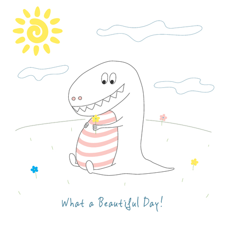Hand drawn vector illustration of a cute funny dinosaur with a flower sitting on the grass on a sunny day, with text What a beautiful day. Line drawing. Design concept for children.