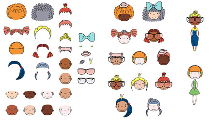 Collection of hand drawn vector doodles of cute girls heads with different hairstyles, skin colors, accessories and two bodies. Isolated on white background. Design concept for kids. Do it yourself.