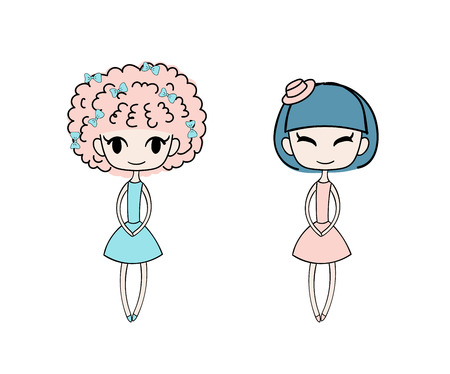 Hand drawn vector illustration of two kawaii little trendy girls with different hairstyles  dressed in lovely dresses. Isolated objects on white background. Design concept for girls.