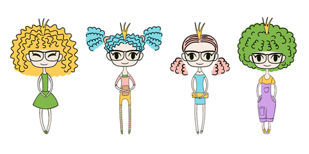 Hand drawn vector illustration of four kawaii trendy girls with curly hair, in cute dresses, t-shirt, leggings, shorts,  and denim overalls. Isolated objects on white background. Design concept kids. Illustration