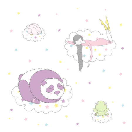 Hand drawn vector illustration of a cute funny bunny, panda, frog and girl with long braided hair floating on clouds among stars, sleeping. Isolated objects on white background. Design concept kids. Illustration