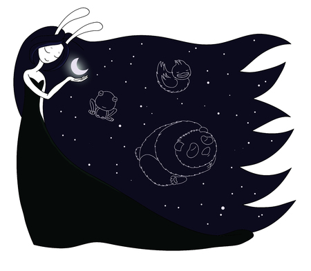 Hand drawn vector illustration of a moon goddess with bunny ears holding moon in her palm, with constellations of panda, duck and frog in the sky. Design concept for children - postcard, T-shirt print