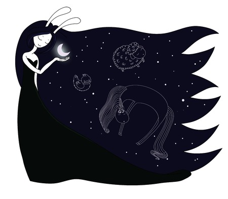 Hand drawn vector illustration of a moon goddess with bunny ears holding moon in her palm, with constellations of unicorn, duck and sheep in the sky. Design concept for children - postcard, poster.