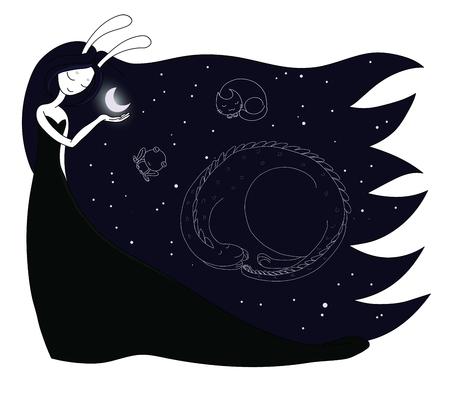 드래곤, 고양이, 하늘에서 개구리의 별자리와 함께 그녀의 손바닥에 달 잡고 토끼 귀와 달 여신의 손으로 그린 된 벡터 일러스트 레이 션. 어린이 - 엽
