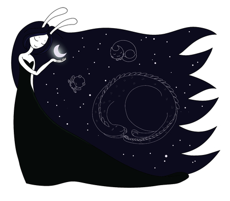 Hand drawn vector illustration of a moon goddess with bunny ears holding moon in her palm, with constellations of dragon, cat and frog in the sky. Design concept for children - postcard, T-shirt print