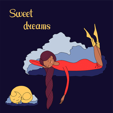 Hand drawn vector illustration of a sleeping dark skinned girl and cat floating on the clouds, with text Sweet dreams. Isolated objects. Design concept for children - postcard, poster, T-shirt print