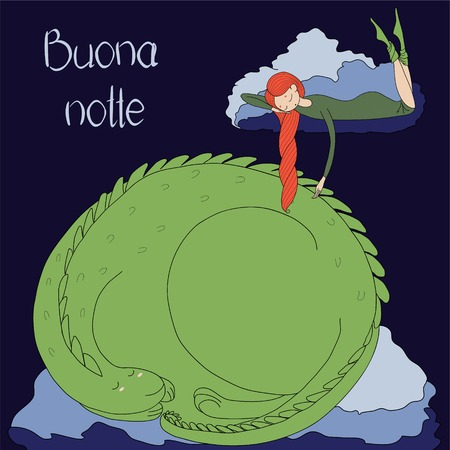 Hand drawn vector illustration of a sleeping girl and dragon floating on the clouds, with Italian text Buona notte (Good night). Isolated objects. Design concept for children - poster, T-shirt print Фото со стока - 88891971