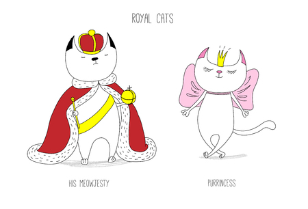 Hand drawn vector doodles of cute funny royal cats - a king and a princess in crowns, with text. Isolated unfilled outlines. Design concept for children - poster, postcard, t-shirt print. Illustration