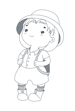 Hand drawn vector illustration of a cute plump little girl in a safari helmet, shirt, shorts, socks and hiking boots, with a backpack. Isolated objects on white background. Design concept for children