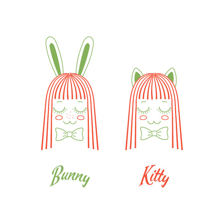Vector doodles of cute girl faces with long hair, cat and rabbit ears, bow ties ant text Bunny, Kitty. Unfilled isolated outlines on white background, in orange and green. Design concept for children.