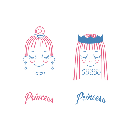 Vector doodles of cute girl faces with long hair, crown, pleated collar, pearl necklace, earrings, text Princess. Unfilled isolated outlines on white background, in blue and magenta. Design concept.