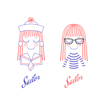 Vector doodles of cute girl faces with long hair, sailor hat and collar, glasses and striped shirt, text Sailor. Unfilled isolated outlines on white background, in blue and red. Design concept. Ilustração
