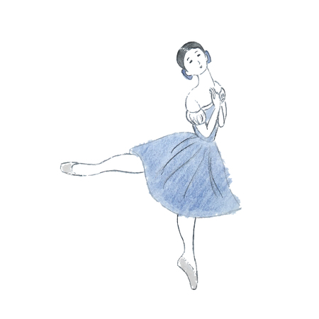 Hand drawn pencil illustration of a beautiful ballerina dancing Giselle. Vector, isolated on white background.