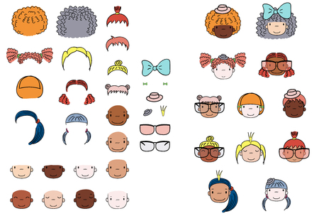 Collection of hand drawn vector doodles of cute funny girls heads with different hairstyles, skin colors and accessories. Isolated objects on white background. Design concept for kids. Do it yourself.