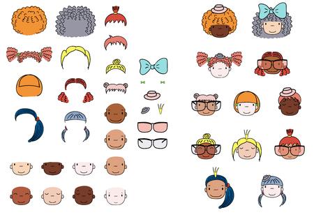 Verzameling van hand getrokken vector doodles van leuke grappige meisjes hoofden met verschillende kapsels, huidskleuren en accessoires. Geïsoleerde objecten op witte achtergrond. Ontwerpconcept voor kinderen. Doe het zelf.