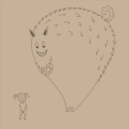 Hand drawn vector illustration of a little girl with pig tails meeting a very big smiling monster. Isolated objects. Design concept for children.