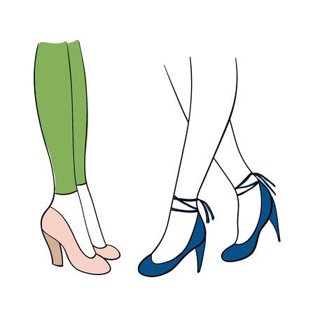 손으로 그려진 된 벡터 그림 아름 다운 유행 신발 - 두꺼운 핑크 펌프와 파란색 스틸 피트 발목 스트랩에 여성 다리. 흰색 배경에 고립 된 개체입니다.  일러스트