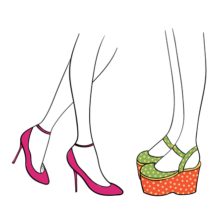 Hand drawn vector illustration of female legs in cute trendy shoes - magenta ankle straps with kitten heels and Mary Jane platforms in green and orange with yellow polka dots. Isolated objects.