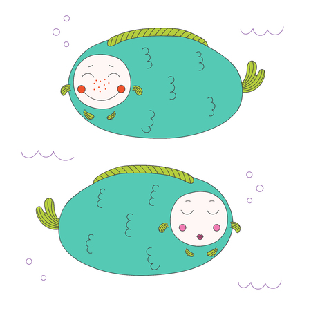 Hand drawn vector illustration of two roundish funny fat fish with cute faces swimming under water. Isolated objects on white background. Design concept for children.