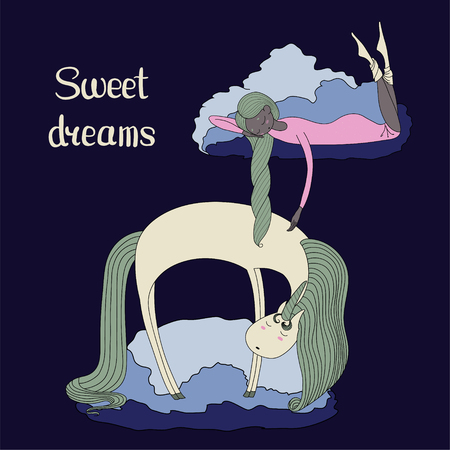 Hand drawn vector illustration of sleeping dark skinned girl and unicorn floating on the clouds, with text Sweet dreams. Isolated objects. Design concept for children - postcard, poster, T-shirt print