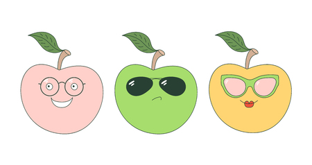 Set of hand drawn cute funny stickers with pink, orange and green apples wearing different glasses. Isolated objects on white background. Vector illustration Design concept for children.